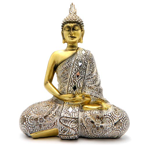 Rockin Buddha Statue Gold Antiques Mosaic - 10 inches Tall Pattern Decoration Mantra Buddha Home Decoration Gift Office Meditation Room Temple
