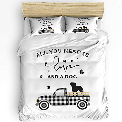 Ultra Soft Microfiber 3 Piece Bedding Set, Black White Checkered Truck with Puppy Silhouettes Fence Modern Bedroom Comforter Cover with 2 PC Pillowcase King, White All You Need is Love and A Dog