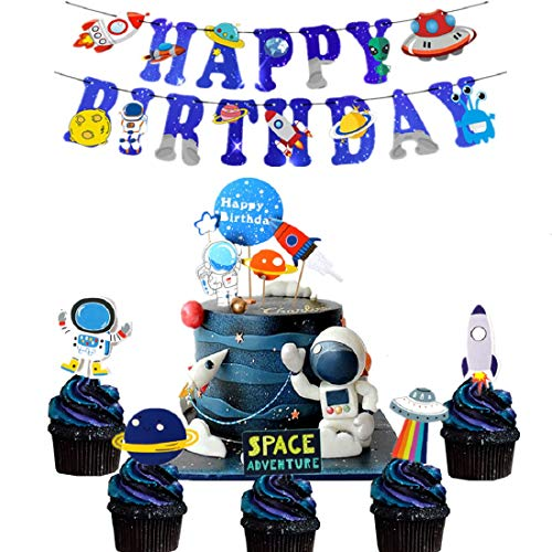 LaVenty Set of 26 Space Theme Birthday Party Banner Solar System Decoration Outer Space Cake Cupcake Toppers Rocket Astronaut UFO Outer Space Theme Party