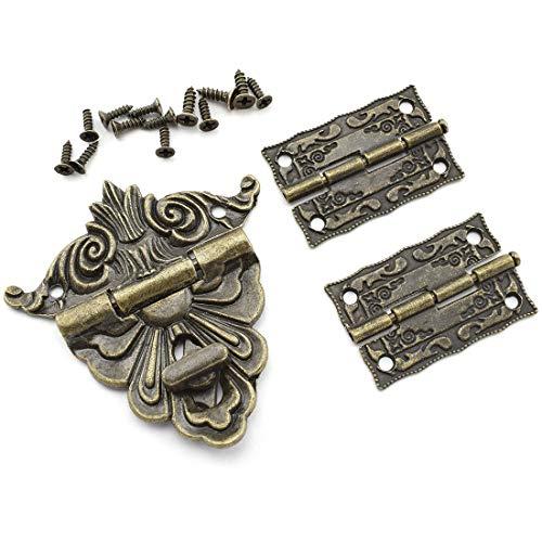 DTTRA Juego de cerradura retro para caja de joyería y 2 bisagras con tornillos
