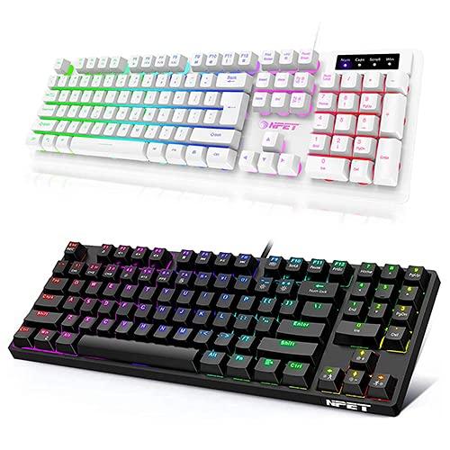 NPET K10 Gaming Keyboard USB Wired Floating Keyboard and Mechanical Gaming Keyboard Bundle, Quiet Ergonomic Water-Resistant Mechanical Feeling Keyboard, Ultra-Slim Rainbow LED Backlit Keyboard, White