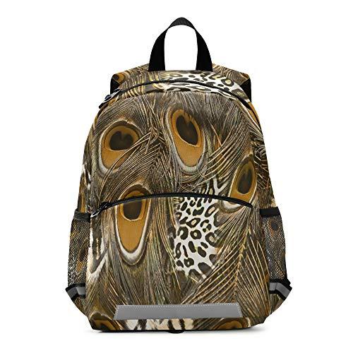 RELEESSS - Mochila infantil con estampado de plumas de pavo real con correa para el pecho, mochila escolar para niños y niñas