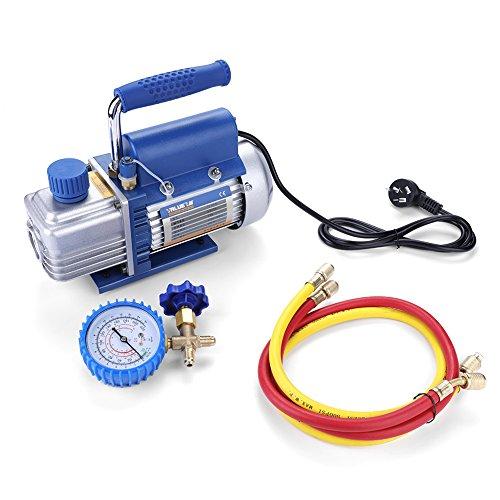 220V 150W Walfront Kit de Pompe à Vide à un Étage pour climatisation/Réfrigérateur avec Tube de Manomètre