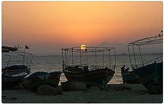 Tree26 Indoor Floor Rug/Mat (23.6 x 15.7 Inch) - Tunisia Fisherman Boat Sea Fishing Water Net