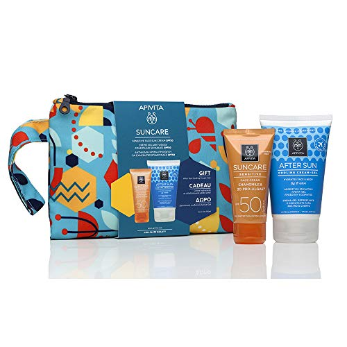 APIVITA SUNCARE Crema Facial Piel Sensible SPF50 + Regalo Aftersun 100ml + Regalo Neceser