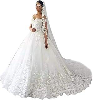 68a685893 Andybridal Gorgeous Plus Size Off Shoulder Lace Court Train Bridal Gowns  Wedding Dress for Bride 2019