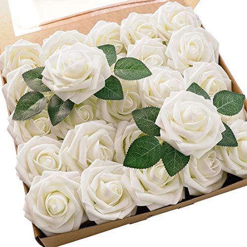 AIYANG 25 rosas artificiales de aspecto real, de espuma, con hojas de rosas, para bodas, fiestas, decoración (marfil)