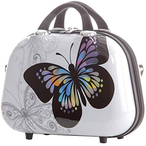 BEIBYE Reisekoffer Hartschalen Hardcase Trolley Zahlenschloss Polycarbonat Set-XL-L-M- Beutycase (Butterfly, S(Beautycase))