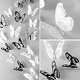 WandSticker4U®- 36er-Set 3D Schmetterlinge mit Glitzern SCHWARZ WEIß I Butterfly Dekoration Fenster Möbel Basteln Hochzeit Tischdeko I Wand Deko für Wohnzimmer Schlafzimmer Kinderzimmer Kinder - 6