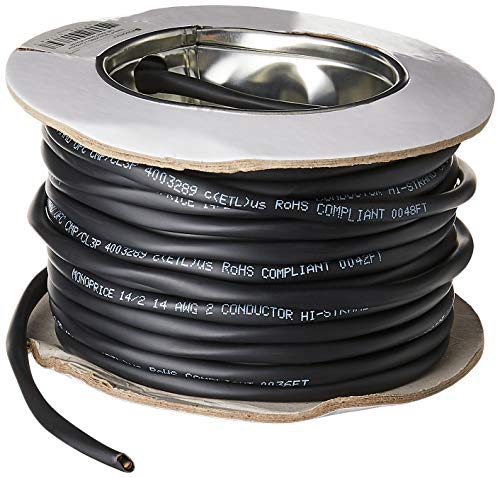 Monoprice - 113715 Nimbus Series 14 Gauge AWG 2 Conductor CMP-Rated Speaker Wire/Cable - 50ft UL Plenum Rated, 100% Pure Bare Copper with Color Coded Conductors Black