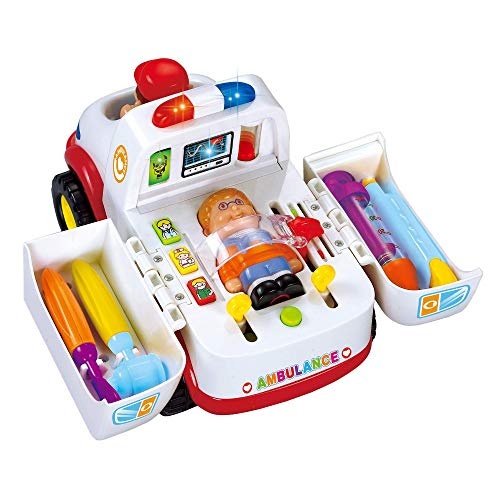 Little Learning Ambulance Activity Toy – Rescue Ambulance Playset with Lights, Siren and Music – Pop Out and Play Driver and Patient Plus 4 Pieces of Medical Equipment – Age 36+ Months