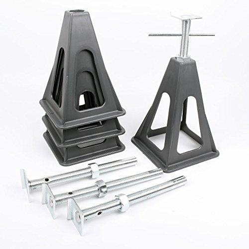 Fiamma 4er Set Stützbock für Wohnwagen oder Anhänger bis 3200 kg schwarz inkl Kreuzwasserwaage