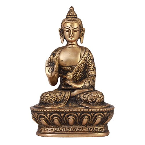 ShopEndHere Blessing Buddha Idol (7 Inch Tall), Hand Crafted Lifestory Buddha Statue, Fine Carving, Antique Brass Sculpture, Vintage Decorative, Valuable Collection, Rustic Finish