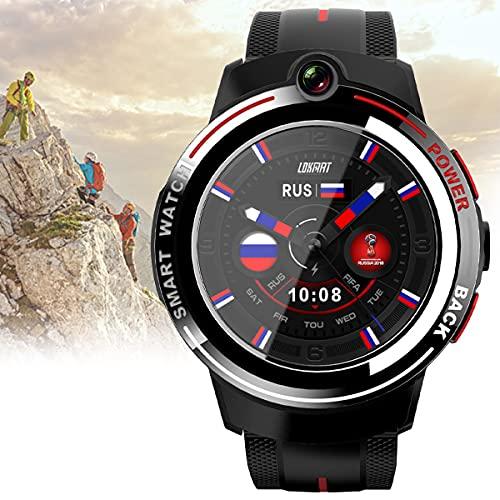 BLLJQ 4G Reloj Inteligente, Función GPS Incorporada, IP67 Bluetooth Prueba Agua, 1~32 GB, Compatible Pantalla Táctil 1.39 Pulgadas, Al Reconocimiento Facial, con Compatible Android/iOS,Rojo