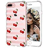 MOSNOVO iPhone 8 Plus Case, iPhone 7 Plus Case, Cherry Clear Design Printed Transparent Hard Back Case with TPU Bumper Protective Case Cover for iPhone 7 Plus/iPhone 8 Plus
