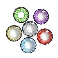 VISUAL-CLICK 1ヶ月交換, 度なし/度数がある全6色 [2枚] 高発色カラコン アップルジュレ, 自然色コンタクトレンズグ, 高酸素含有、潤いのある快適なコンタクトレンズ. ?尚.ファッション、パーティー用カラーコンタクトレンズ. ハロウィン、コスプレ用カラーコンタクトレンズ, 維嘉の三色 (-1.5,魏の青)