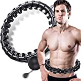 Veggicy Smart Hoola Hoop for Adults Hoola Circle Weighted Hoops 2 in 1 Fitness Weight Loss Massage Non-Fall Exercise Hoops with 26 Detachable Knots Adjustable Auto-Spinning Ball for Adult(Black)