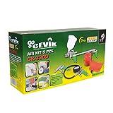 Cevik CA-CK3300 Kit aerográfico para compresor. 5 piezas: pistola de pintar, de petrolear, soplador, inflador y espiral 5 mt