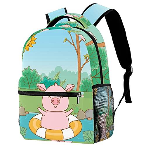 Campus Rucksack für Unisex Kinder Kinderrucksack mit Netztasche Lässiger Tagesrucksack für die Jugend Süßes Tier Schwein 29.4x20x40cm