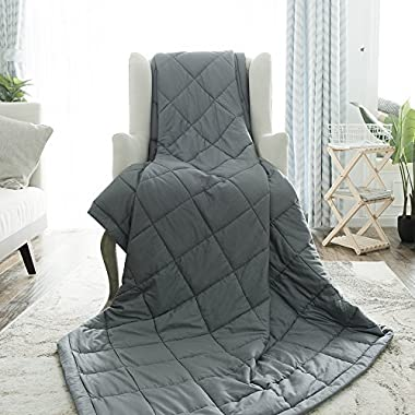 """BUZIO Weighted Blanket (20 lbs for 150-200 lbs Persons, Queen Size) Gravity Heavy Blanket for Adults, Great Sleep Therapy for People with Anxiety, Stress, 60"""" x 80"""", Dark Grey"""