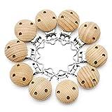 RUBY 10 Stücke Schnullerclip, Natur Schnullerclips Holz Schadstofffrei,BabySchnuller Clips, Nippel Clip Dummy Halter FüR Baby Und Kind (10Stücke-n)