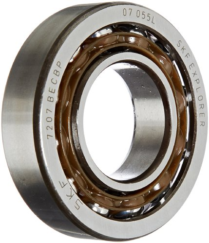 SKF 7206 BECBP Light Series Angular Contact Ball Bearing, Universal Mounting, ABEC 1 Precision, 40° Contact Angle, Open, Plastic Cage, Normal Clearance, 30mm Bore, 62mm OD, 16mm Width, 15600.0 pounds Static Load Capacity, 23800.00 pounds Dynamic Load Capa