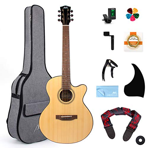 AKLOT Akustische Gitarre 38 Zoll Fichte Cutaway Gitarre Bündeln zum Studenten Kinder Anfänger W/Gig Tasche Tuner Gurt Picks Saiten Schlagbrett Kapodaster String Wickler