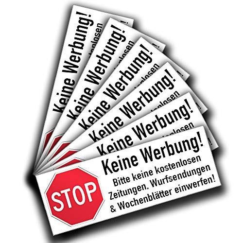 KAVARO Bitte Keine Werbung Aufkleber Schild Briefkasten Aufkleber (6Stück)