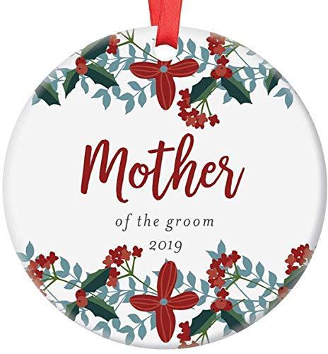 Adorno navideño para madre del novio, adorno de Navidad, idea de regalo para novia, ducha, boda, fiesta, regalo para mamá, de comprometidos, futuro, hija en la ley, adorno floral de Navidad
