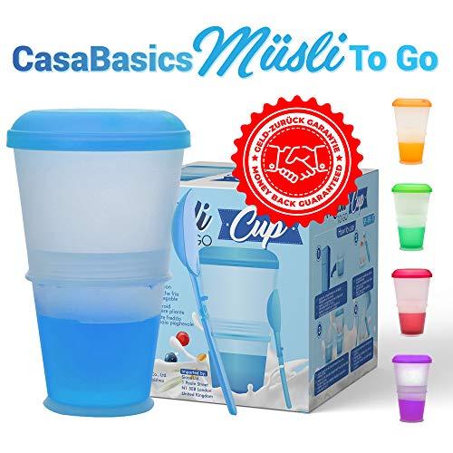 Muesli To Go beker met melk-koelvak & lepel, Muesli beker, yoghurt beker, thermobeker, Mueslidoos - Blauw