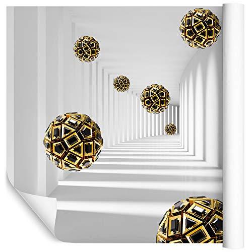 Wallepic Fototapete 3D Effekt Tunnel 240 x 360 cm Vlies Wand Tapete 3D Optik Abstrakt Geometrie Vliestapete Wohnzimmer Schlafzimmer Moderne Wandbild