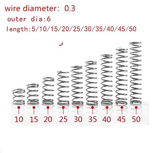 NO LOGO L-Yune, 20pcs 0.3mm 0.3x6mm Edelstahl Druckfeder Drahtdurchmesser 0,3 mm Außendurchmesser 6mm Länge 5-50mm (Größe : 25mm)