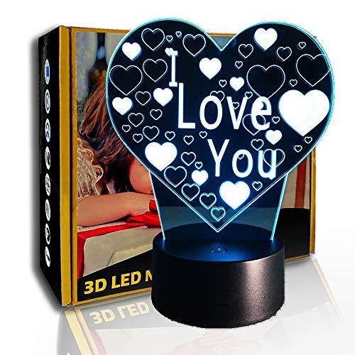 JINYI 3D Luz nocturna- Lámpara de arte LED ilusión creativa en forma de corazón, F- Base de audio Bluetooth (5 colores), Regalo para niño, Lámpara cálida