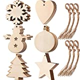 Tatuo 60 Pieces Wooden Cutouts Christmas Wood Ornaments, Star, Christmas Tree, Snowflake, Snowman Christmas Wooden Hanging Ornaments with 60 Pieces Ropes for Embellishments, Wedding, DIY Craft