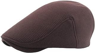Sunhat Sun Hat Fashion Beret Cap Autumn Winter Wool Ladies Wool Men's Knit Solid Color Plus Cotton Velvet Thick Beret Small Lattice (Color : Coffee, Size : 56-58cm)