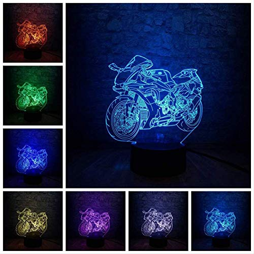 3D-Illusionslampe 3D-LED-Lampe Moto ycle Tischnachtlicht Multicolor Change Atmosphere Lighting   Boy Geschenk Kid Toy USB Desk Wettbewerb Sammeln