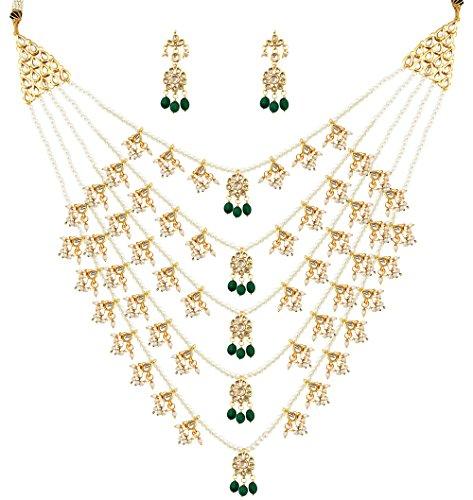Mehrunnisa Rajwada Paanch Lada kundan Pearls & Green Stones Necklace & Earrings Set (Free Kaan Chain)