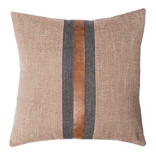 """CARLOTA Farmhouse Decorative Outdoor Throw Pillow Covers for Couch Sofa Bed Brown Faux Leather Accent Pillow Cover Modern Decor Pillow Case 18 x 18 Inch (Coffee, 20""""x20"""")"""