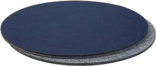 Cojín de asiento acolchado bicolor redondo, juego de 2 unidades, azul/gris (color a elegir) para sillas, bancos, taburetes | Cojín redondo de fieltro de 34 cm de diámetro