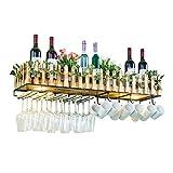 Sywlwxkq Botellero de Madera y Metal montado en la Pared Tipo Valla para Botellas con Almacenamiento de Vidrio para Copas |Inicio Cocina D & Eacute; Cor Estante de Almacenamiento con lámpa