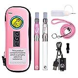 WOLFTEETH 2 Pack CE4 E Sigaretta Starter Kit | 1100mAh CE4 Atomizzatore Liquido Ricaricabile | Sigaretta Elettronica Vaporizzatore Case Set | Senza Liquido Nicotina Tabacco 1156(Bianco Rosa+Rosa)