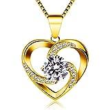 B.Catcher Collar Mujer corazón Plata 925 Colgante ''Amor a Primera Vista'' con San Valentín Regalo Originales Cadena 45cm Longitud (Amarillo)