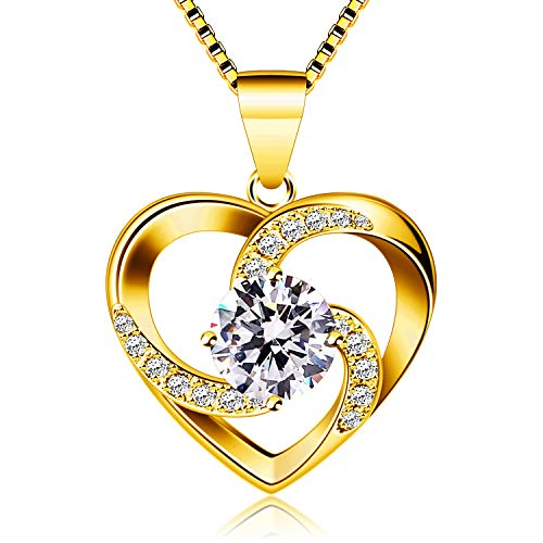 """B.Catcher Women Necklace 925 Sterling Silver """"Crazy Love"""" Pendant Necklaces (Yellow)"""