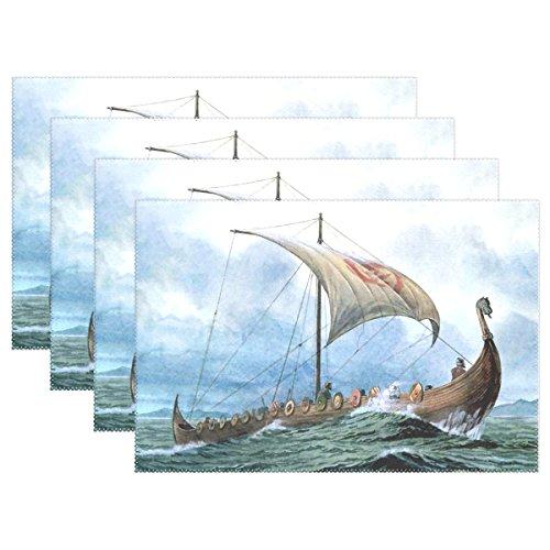 LIANCHENYI Cool Wikinger Drachenboot hitzebeständig Platzsets, Polyester Platzset Tischset für Küche Esszimmer Set von 4