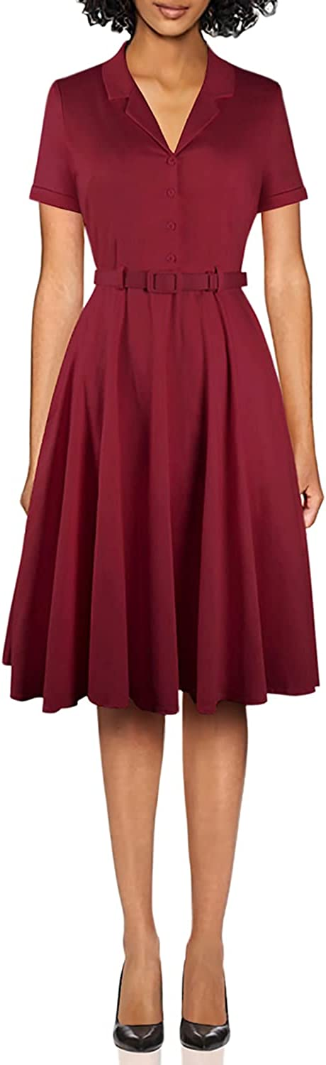 YARN & INK Women's 1950s Vintage Cape Collar Short Sleeve Formal Work Cocktail Swing Dresses with Pockets