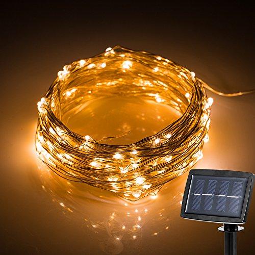 Hallomall LED Solar Powered String Lights, 2 Modes Steady on / Flash, 150 LED,...