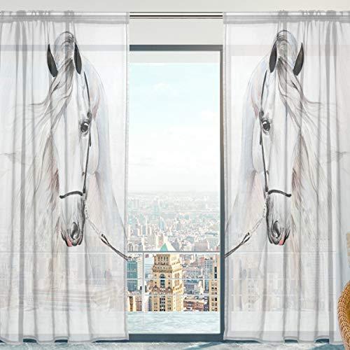 Fenster Vorhänge, Gardinen Pferd Modern Voile Platten Tüll Gardinen 213 cm Lang für Wohnzimmer Schlafzimmer Fenster Decor Set von 2