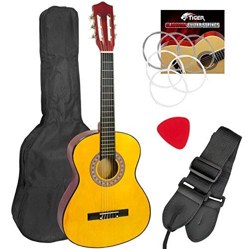 El pack de guitarra clásica para niños es el kit ideal para principiantes. Cuerdas de guitarra de nailon que son fáciles de presionar para un niño o principiante. Incluye bolsa de nailon 600D para que puedas viajar desde y hacia las clases. Incluye u...