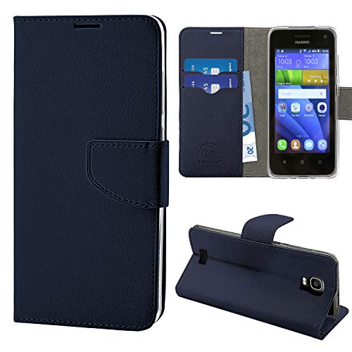 N NEWTOP Cover Compatibile per Huawei Y3, HQ Lateral Custodia Libro Flip Chiusura Magnetica Portafoglio Simil Pelle Stand (Blu)