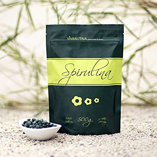 VivaNutria Spirulina Presslinge 500g | aus kontrolliertem Anbau I 2000 Spirulina Tabletten ohne Zusätze - rein & natürlich I schonend verarbeitet | Rohkostqualität I vegan